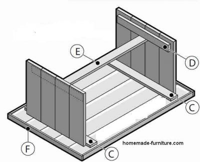 Connection of the farmhouse table sides on a construction plan.