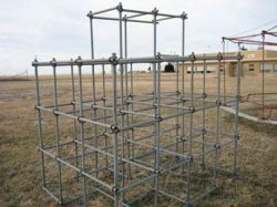 Large structure for fitness training. made from old scaffolding pipes and clamps.