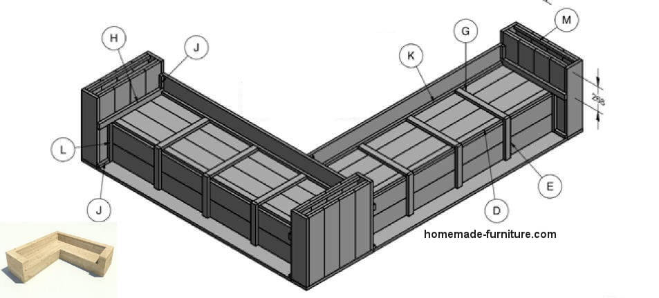 Construction plans for a scaffolding wood corner bench, upside down.