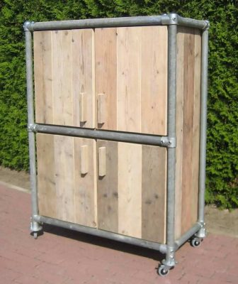 Storage unit made from repurposed scaffold planks and tubes with connectors from scaffolding.