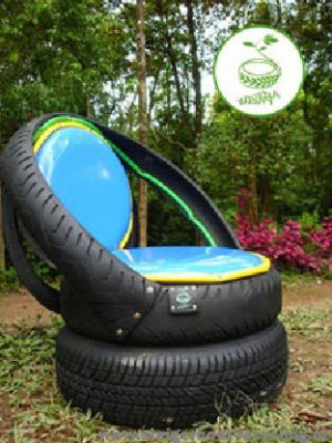 Garden chair made from recycled car and bike tires.