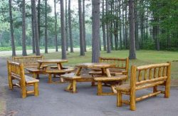 Picnictable and benches made from branches with use of a pointed dowel spoke cutter.