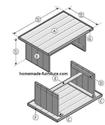 Drawing for construction of farmhouse tables and garden table from reclaimed wood.