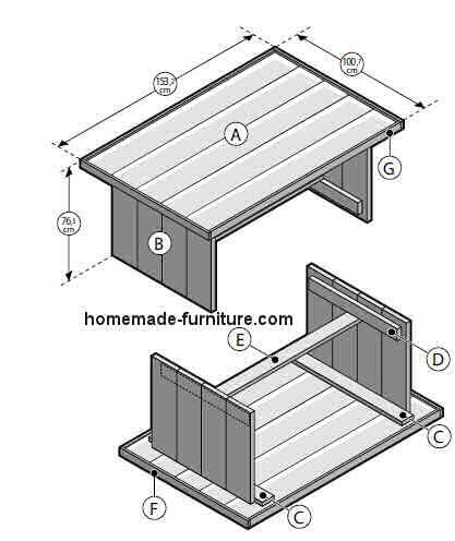 Farmhouse table building plan for reclaimed wood scaffold for Farm table plans drawings