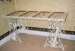 Wrought iron table legs and a reclaimed old door as tabletop.