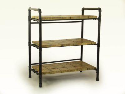 Three shelves on a frame made from gas pipes.