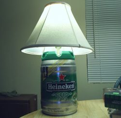 Homemade lamp from recycled Heineken mini beer keg.