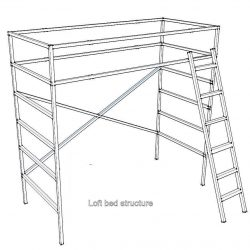 Loft bed construction, example of the structure.