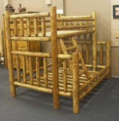 Round logs made into a strong bed for children.
