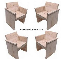 Homemade wooden chairs seen from different angles.