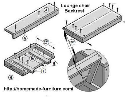Lounge chair backrest assembly construction plans.