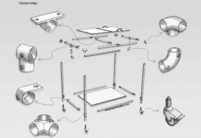 Kitchen trolley construction drawing for scaffolding tubes and tubeclamps.