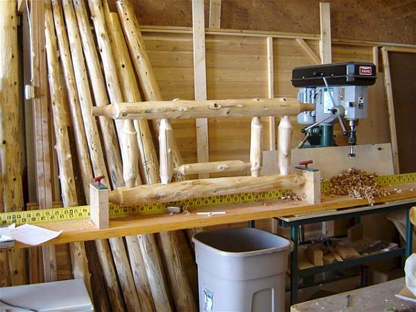 Workshop setup with lathe to make farmhouse furniture with a pointed dowel woodjoint.