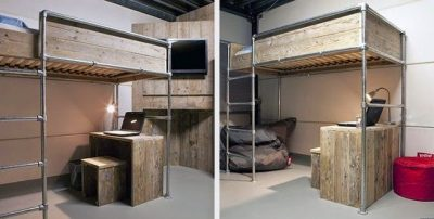 Two versions of a loft bed made with tubes and boards from scaffolding.
