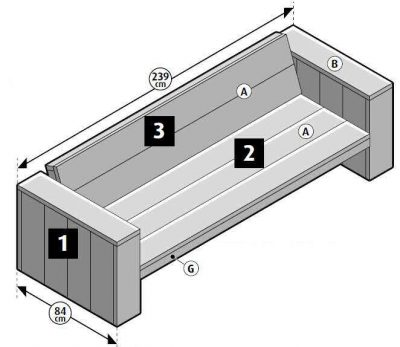 Assembly methods for wooden benches, homemade with scaffolding planks.