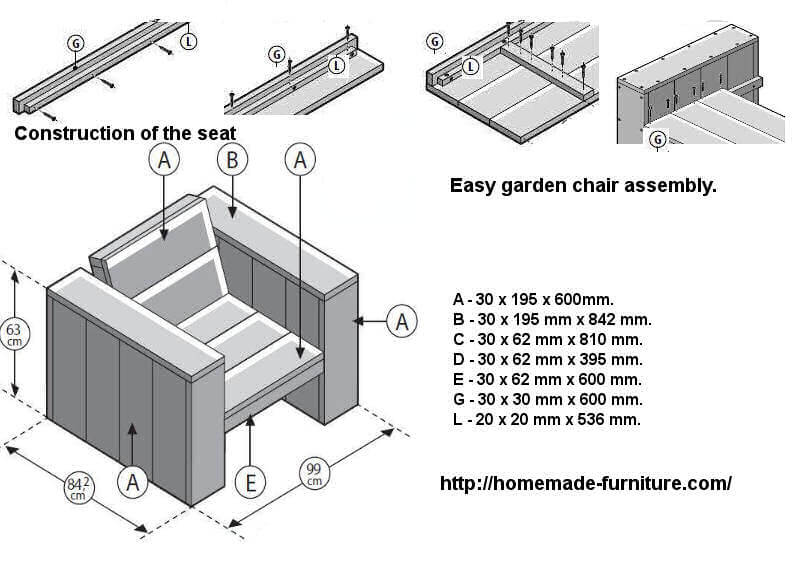 Seat assembly method and construction drawings for lounge chairs and benches.  sc 1 st  Homemade furniture & Chairs drawings free construction plans. Homemade DIY chair examples.