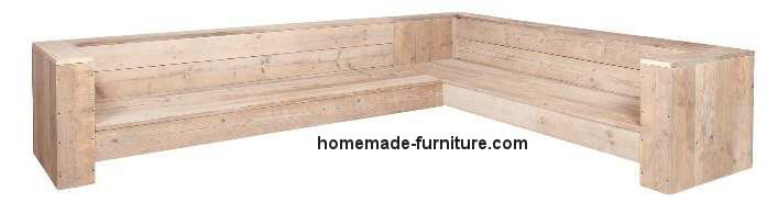 Scaffold wood corner bench, as garden furniture and for use in the house.