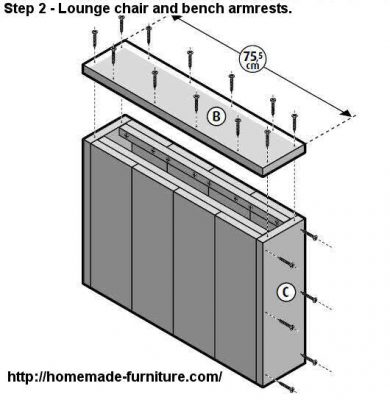 Construction plan for homemade lounge furniture.