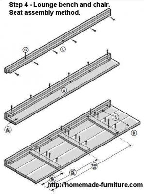 Instructions to make the seat for lounge benches and chairs of scaffolding wood.