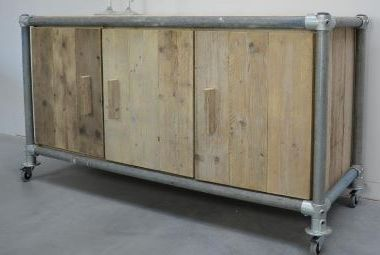Cupboard on wheels, chest from tubes and reclaimed planks.