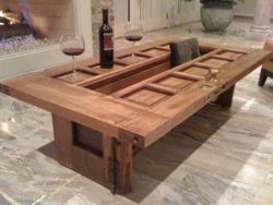 Smart design farmhouse table in lounge style, made from old doors.