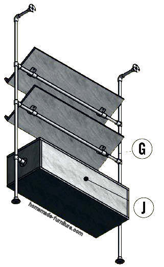 Backside construction drawing for the magazine rack.