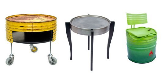 Examples how to repurpose oil barrels as furniture.