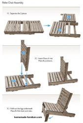 Pallet chair free construction drawings and building plan.