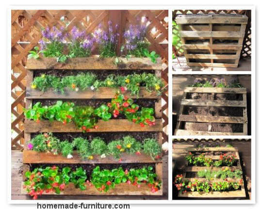 Vertical garden design with pallets and reclaimed planks.