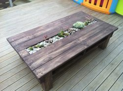 Table made from pallets, with planter integrated in the tabletop.
