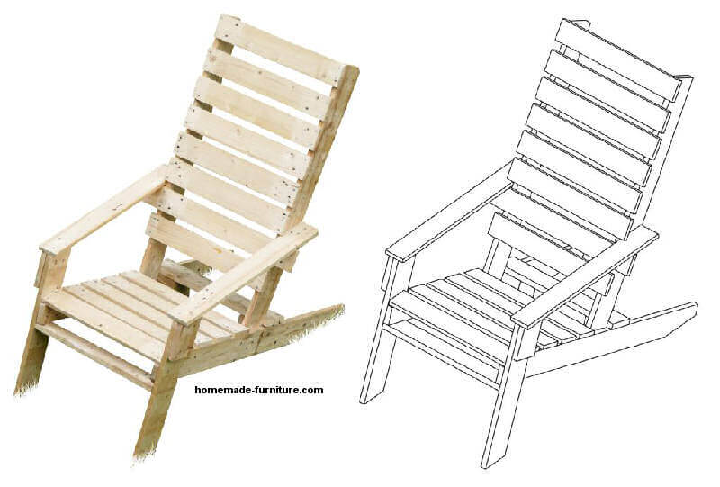 Pallet chair examples and free diy plans.
