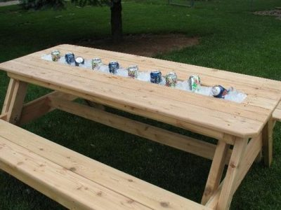 Cooler table designs for tables with integrated ice bucket Picnic table with cooler plans