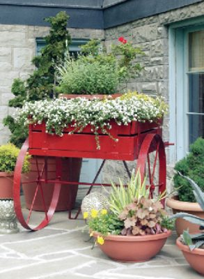 Planter made in an old wooden cart.