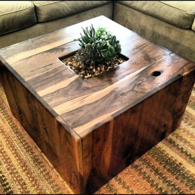 Low Table In Lounge Style With An Embedded Planter In The Tabletop.