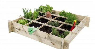Planter design with square foot grid division.