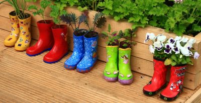 Plants and flowers planted in colored boots from children.