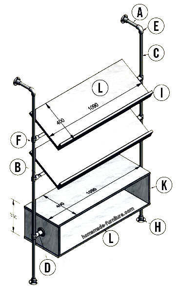 Rack for magazines and folders, free construction drawings.