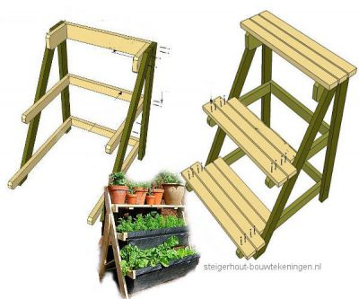 Multi level planter rack woodworking plan.