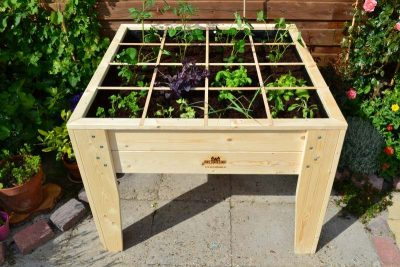 Raised wooden planter design with divisions in a square foot grid.
