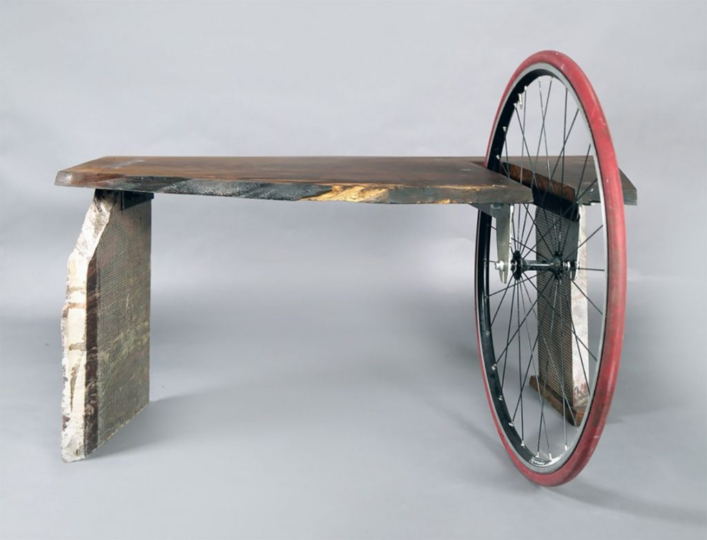 Example of re -cycling of otherwise worthless reclaimed materials into artsy furniture.