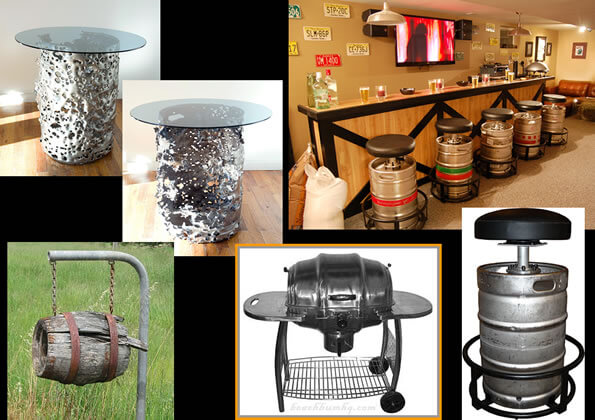 Repurposed beer barrels as BBQ, bar stools and tables.
