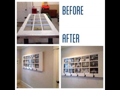 How to use an old door to make a large frame for many pictures on the wall.