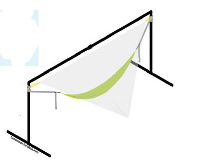 Support frame for hammocks, made with pipes from scaffolding.