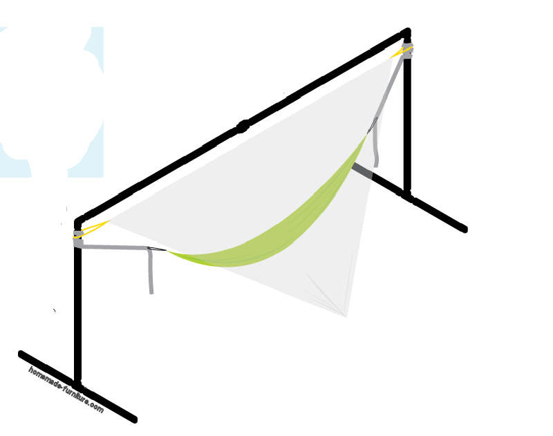 Hammock and swinging bed supports, made with steel pipes from scaffolding.