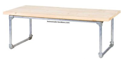 How to make a tube table from old scaffolding and repurposed wood.