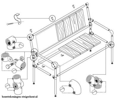 Parts of the tube bench with all connectors and tubing with repurposed planks.