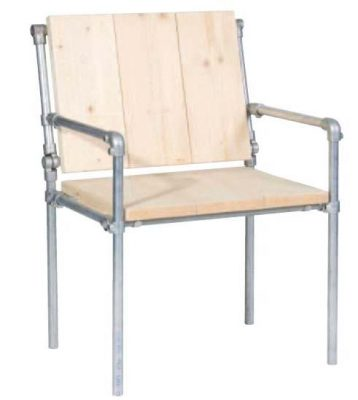 Tube chair with adjustable back rest , made with repurposed scaffold tubes and planks.