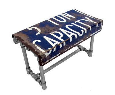 Table made from scaffold tubes and reclaimed traffic sign.