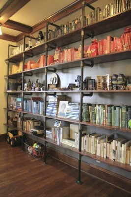 Large shelves for a library or bookstore.