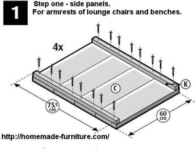 Wooden side panel construction plan for homemade furniture.